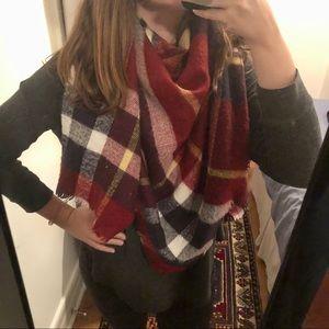 Zara Red & Navy Blanket Wrap Scarf